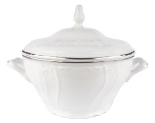 Bernadotte jušnik s pokrovom bel srebrn rob*