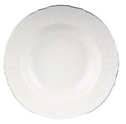 Bernadotte krožnik globoki 23cm bel srebrn rob*