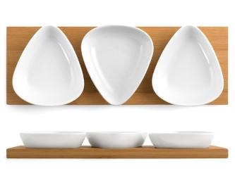 Pladenj 28x10 bambus + 3 skodelice