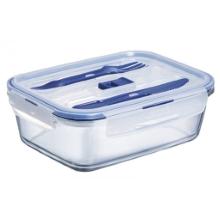 Pure box steklena doza za shranjevanje, kvadratna s priborom 1,22 l